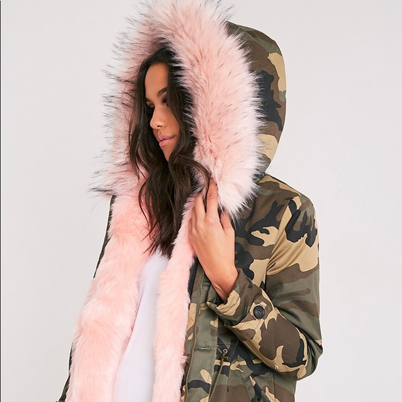 6b029077215bb Fliss for Pretty Little Thing Jackets & Coats | Pink Faux Fur Camo ...